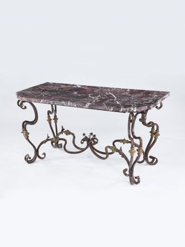 Pair of Spanish 19th Century Wrought Iron Console Tables_0