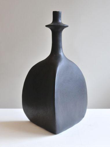 Pair of Black Sandstone Ceramic 'Trilobe' Lamps by Isabelle Sicart_1