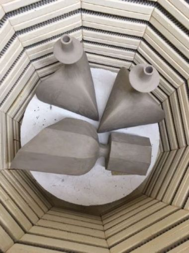 Pair of Black Sandstone Ceramic 'Trilobe' Lamps by Isabelle Sicart_6