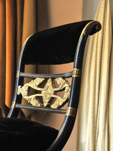 Pair of Regency Ebonised & Parcel Gilt Curule Side Chairs_2