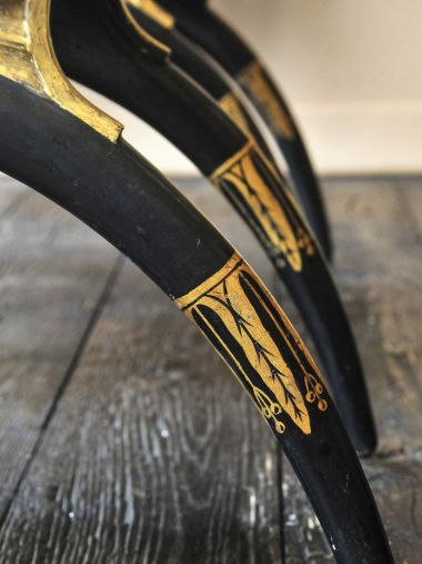 Pair of Regency Ebonised & Parcel Gilt Curule Side Chairs_3