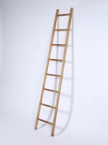 Edwardian Turned Ash Library Ladder_0