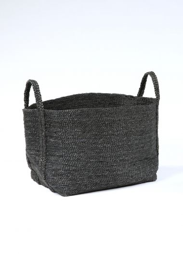 Large Square Basket in Black Jute_0