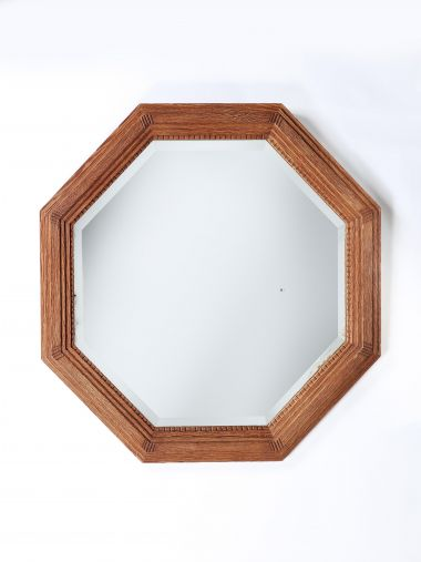 Art Deco Oak Octagonal mirror_0