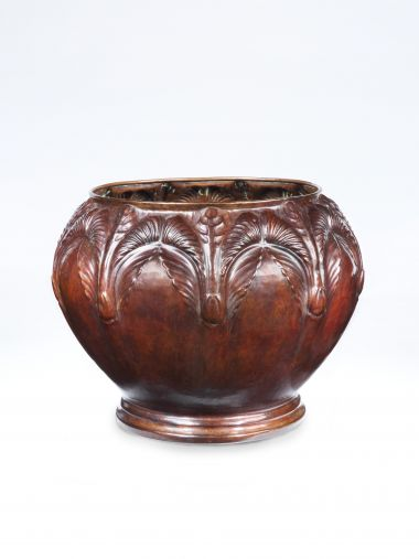 Art Nouveau Copper Cache Pot_0