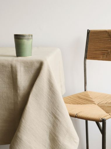 Square Tablecloth in 'Otter' Heavy Weight Linen_1