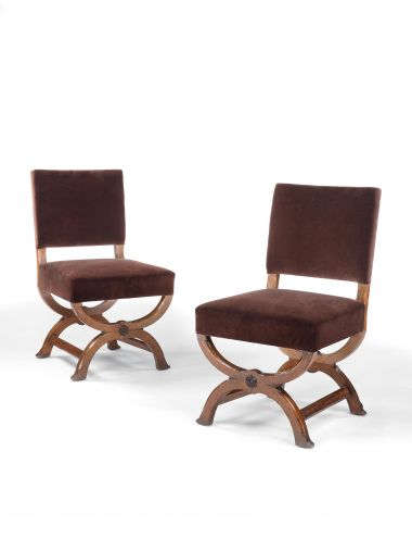 Pair of X-Frame Oak Side Chairs by Gillows_0