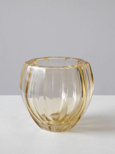 Pale Amber Art Deco Glass Vase_0