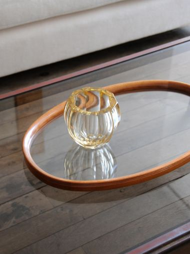 Pale Amber Art Deco Glass Vase_1