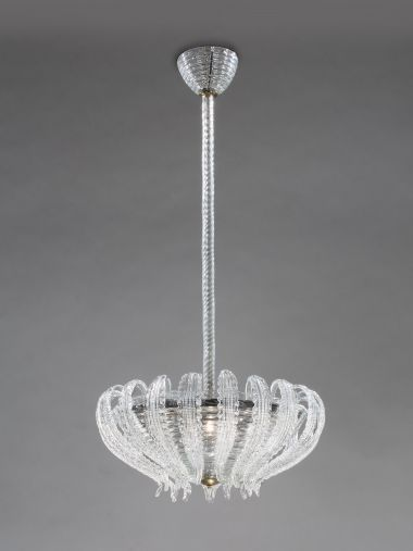 1940's Murano Glass Chandelier by Barovier & Toso_0