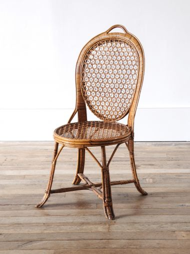 Pair of Cane & Bamboo Side Chairs_1