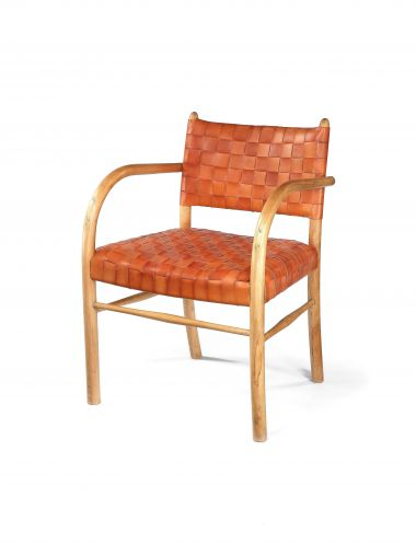 1930's Leather & Beech Elbow Chair_0