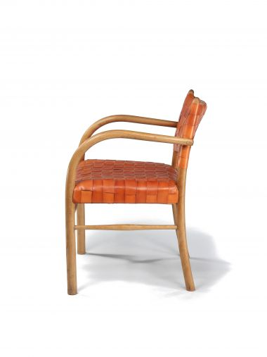 1930's Leather & Beech Elbow Chair_1