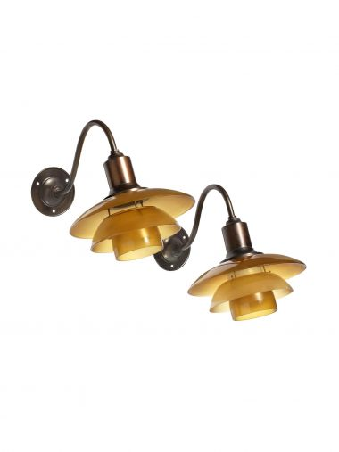 Pair of PH 2/2 Wall Lights in Amber Glass_0