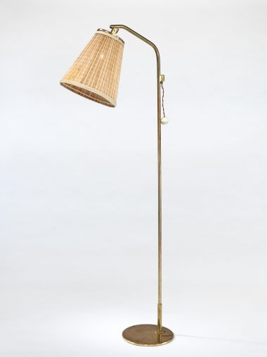 1950's Brass Standard Lamp with 'Strip' Shade_0