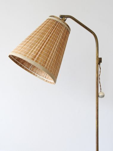 1950's Brass Standard Lamp with 'Strip' Shade_1