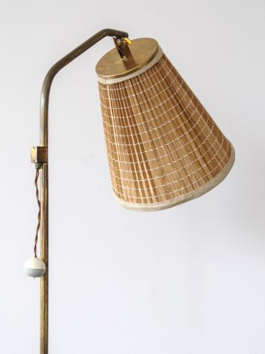 1950's Brass Standard Lamp with 'Strip' Shade_2