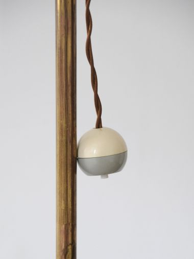 1950's Brass Standard Lamp with 'Strip' Shade_3