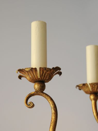 French Gilded Iron and Glass Chandelier_1