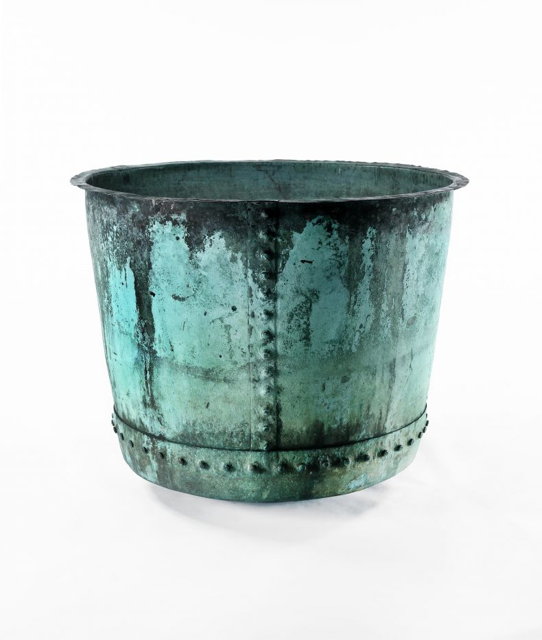 Large Rivetted Copper Planter_0