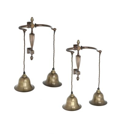 Pair of Late 19th Century Brass Wall Lights_0