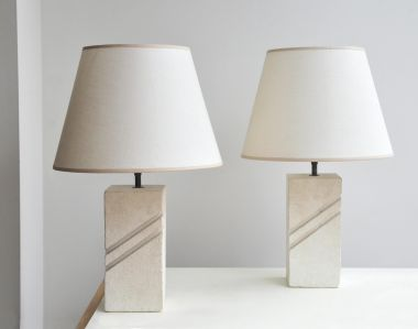Pair of 1970's Carved Stone Table Lamps_1
