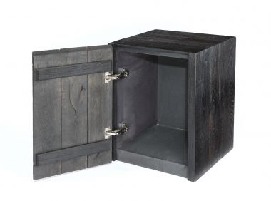 Pair of ebonised Oak Plinth with Door_1