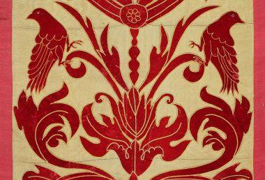 Panel of 19th Century Applique Red Velvet_1