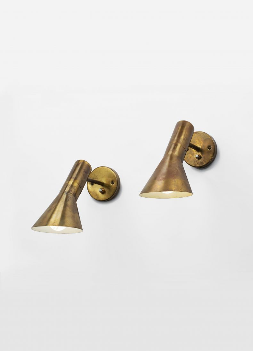 Pair of Brass 'AJ Visor' Wall Lights by Arne Jacobson_0