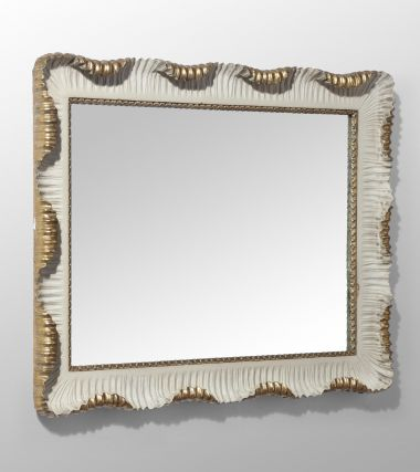 Carved Stone-White Painted & Gilded Mirror_2
