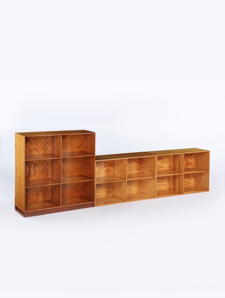 Set of 3 Pine Bookcases by Mogens Koch_0