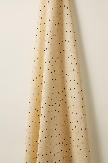 Burgundy spot on Honey Sheer Linen Fabric by luxury designer Rose Uniacke