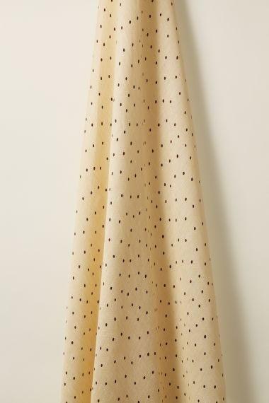 Burgundy spot on Honey Sheer Linen Fabric by luxury designer Rose Uniacke