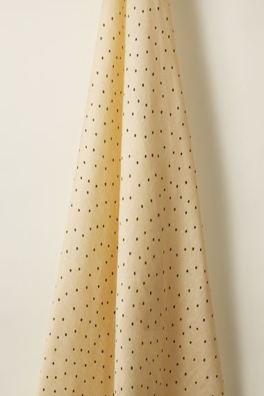 Luxury Sheer linen fabric in olive spot on honey by Rose Uniacke
