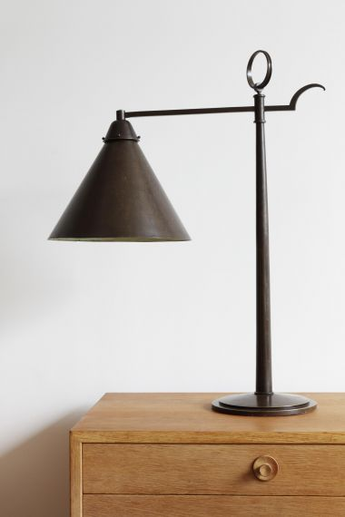 Rare Table Lamp of Patinated Bronze_0
