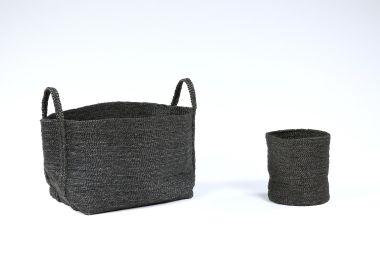 Large Square Basket in Black Jute_1
