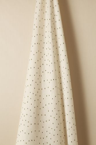 Sheer Linen in Olive Spot on Chalk