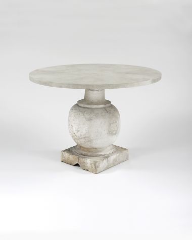 Pair of Bulbously Carved Limestone Baluster Tables_0