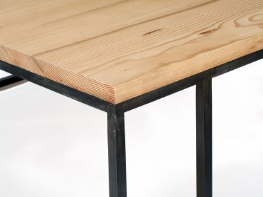 Designer Douglas Fir Patinated Steel Coffee Table