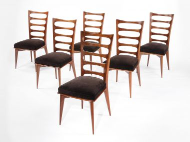 Set of Six Mahogany Ladderback Side Chairs_1