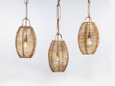 Set of Six French Wicker Hanging Lanterns_1