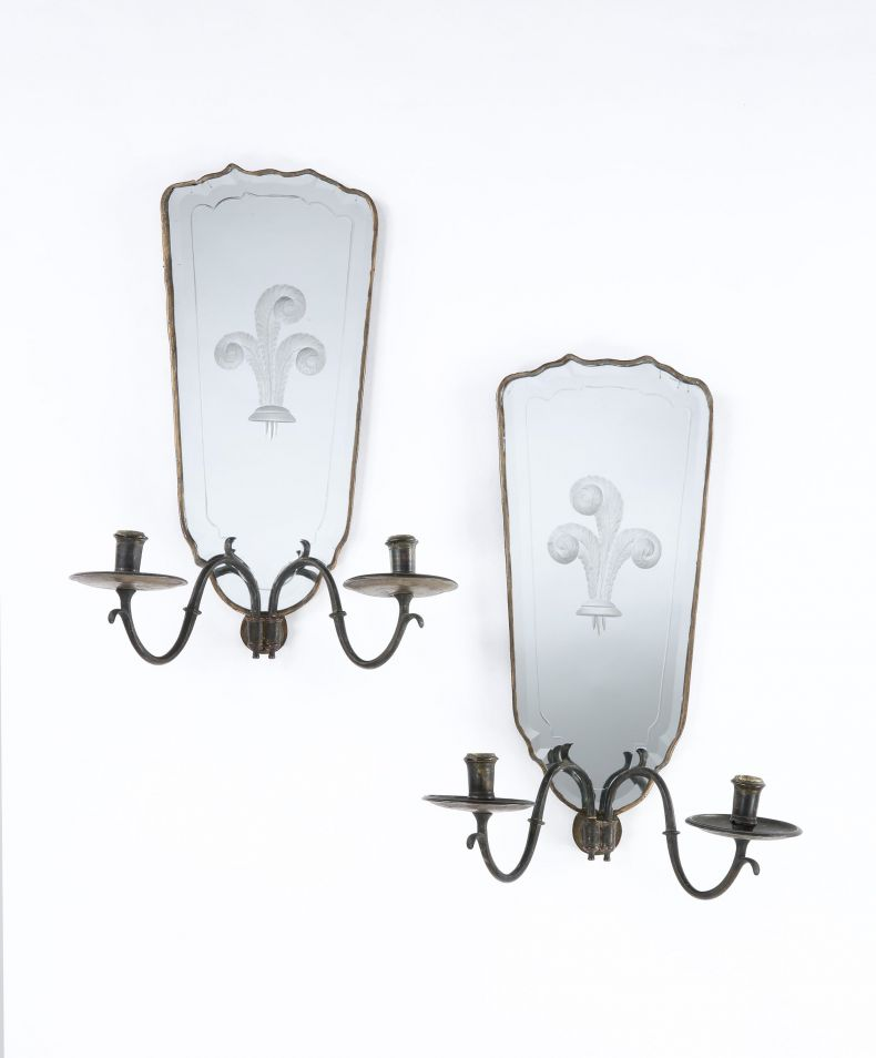 Pair of Antique French Mirrored Wall Sconces