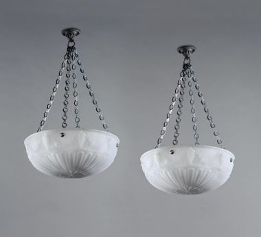 Pair of Large Edwardian Opalescent Glass Hanging Lights_1