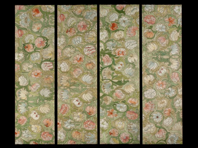 Set of Four Arts and Crafts Embroidered Panels_0