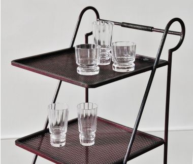 Leaded Highball Crystal Tumblers on drinks stand