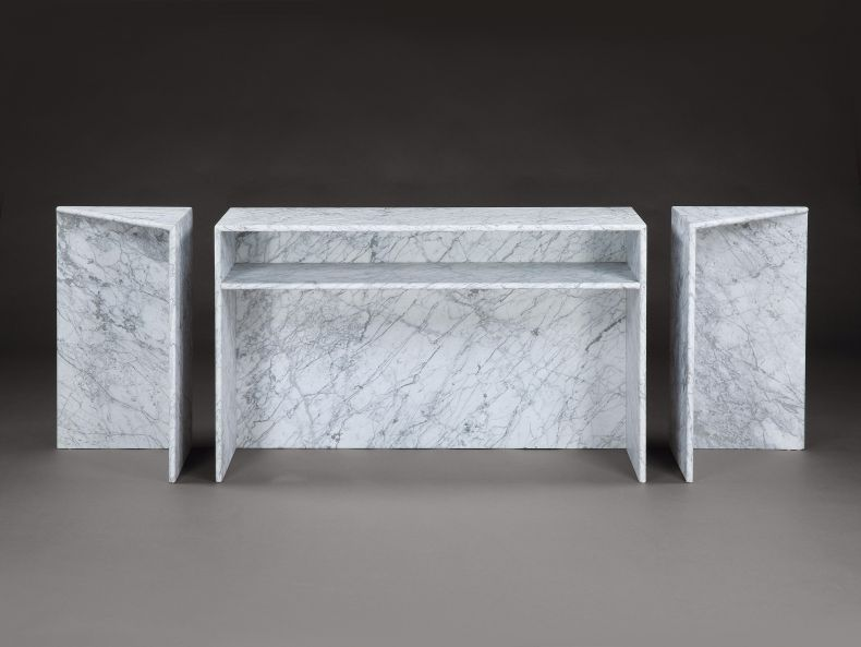 1970's Carrera Marble 'Triptych' Side Table by Angelo Mangiarotti_0