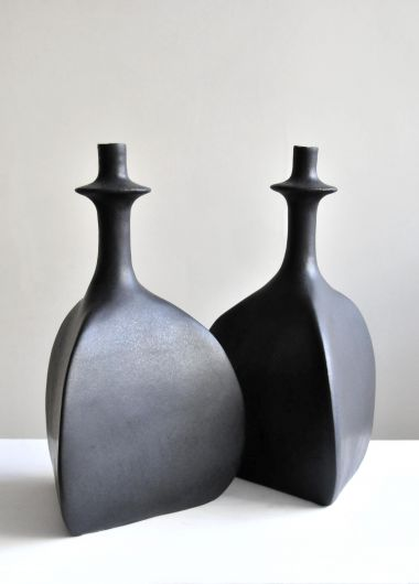 Pair of Black Sandstone Ceramic 'Trilobe' Lamps by Isabelle Sicart shot