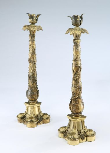 William IV Gilt Bronze Table Lamps Pair vintage antique
