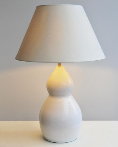 1950's Bi-lobed White Stoneware Table Lamp_0