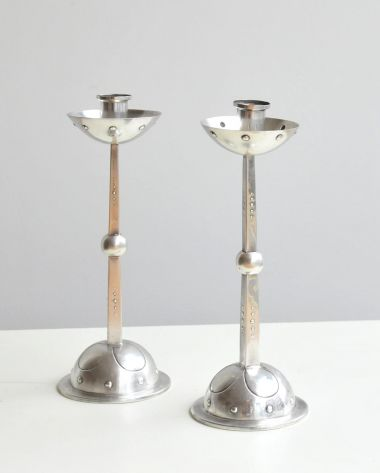 Pair of Silver Plate Secessionist Candlesticks_1